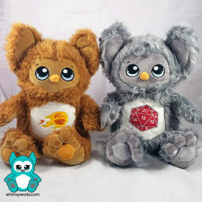 Fireball Owlbear and Icosa Owlbear are ready for the Owlbears Designer Plush Kickstarter! Are YOU?